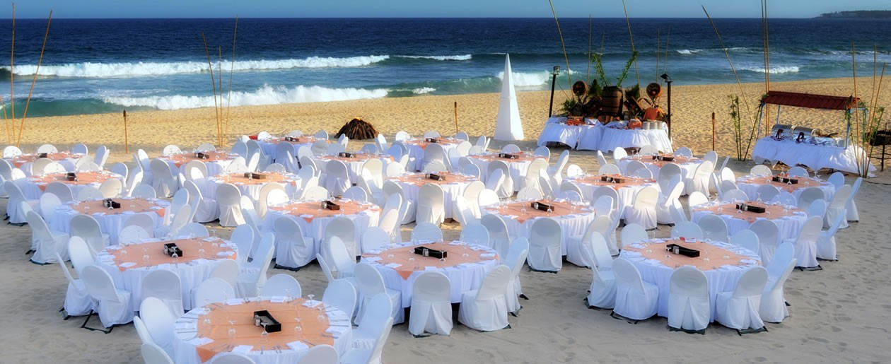 On the beach wedding setup by Barceló Grand Faro Los Cabos.