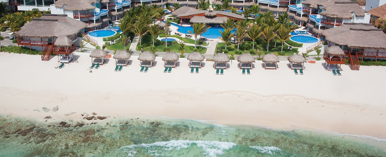 Private white sand beach for a romantic Riviera Maya wedding.