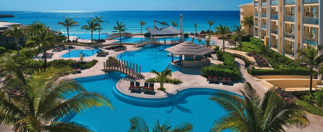The tropical stunning view of the pools at Now Jade Riviera Cancun.