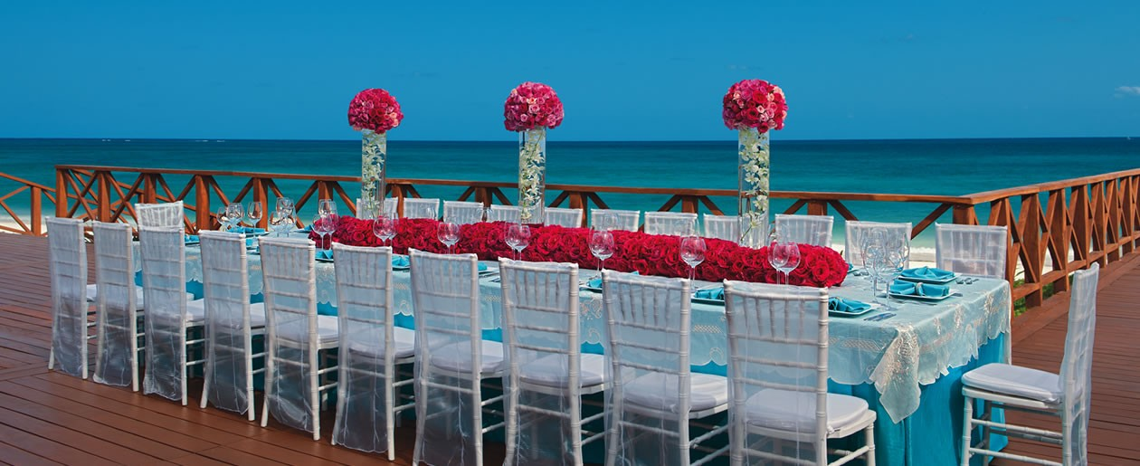 A wedding set-up shot that overlooks the stunning blue waters of the Caribbean Sea.