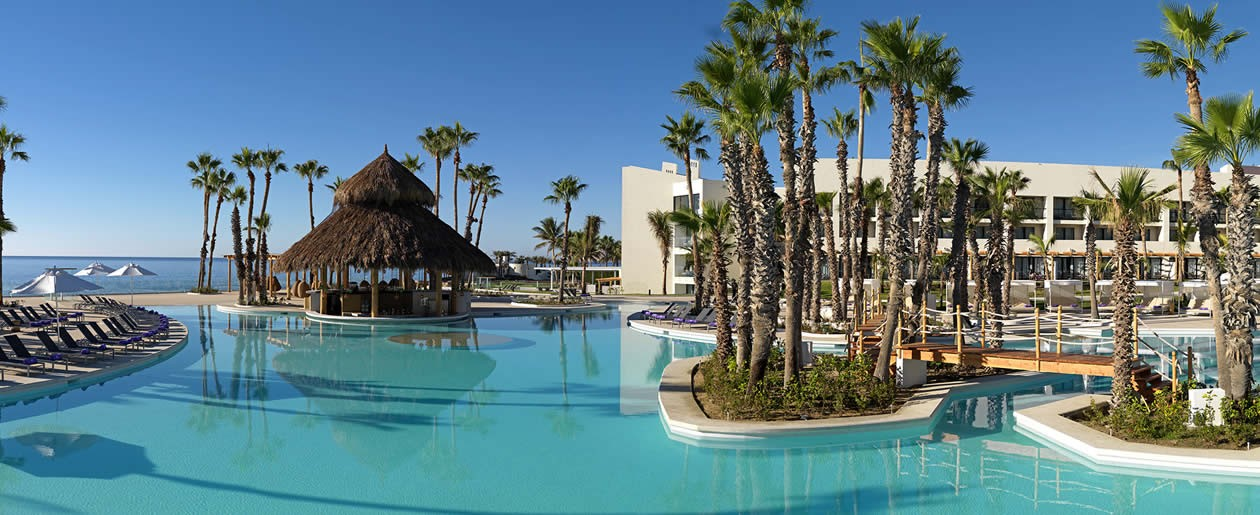 Stunning resort free-form pool at the Paradisus Los Cabos.