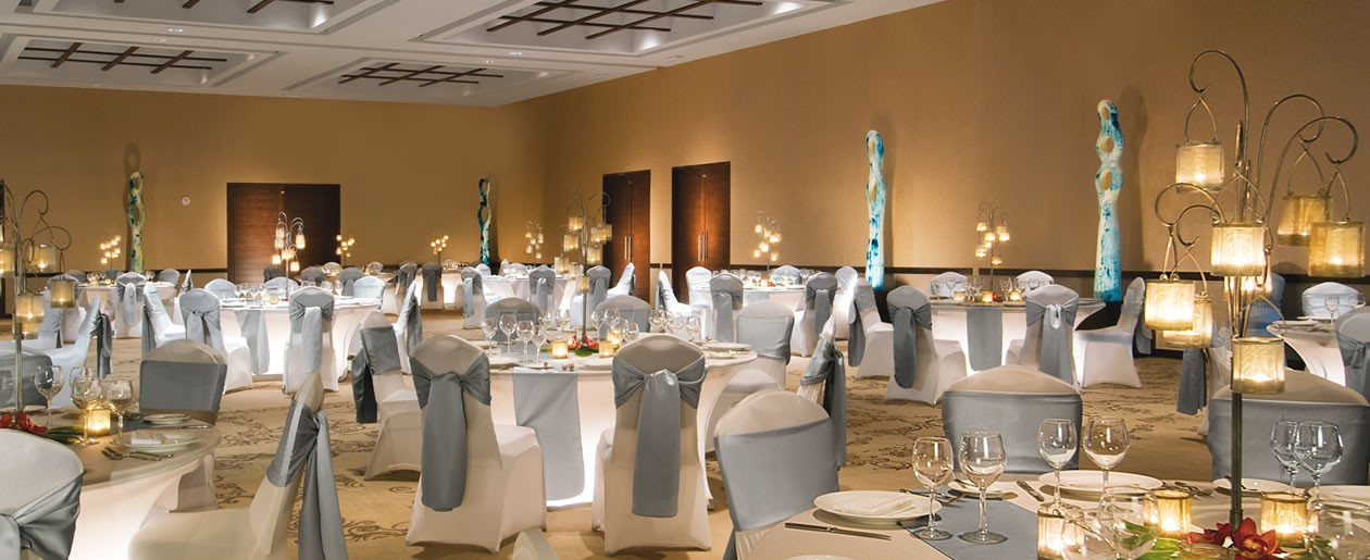 The chic ballroom at Secrets Silversands ideal for small and large gatherings, wedding events and nightly entertainment shows.
