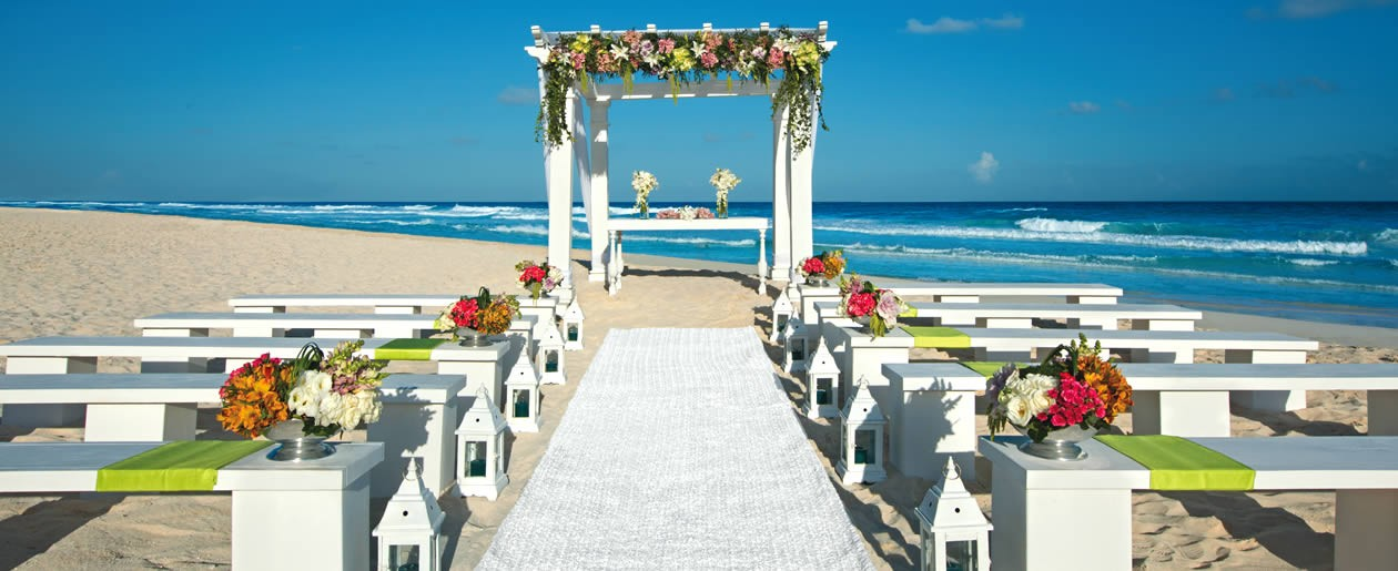 The beach at Secrets The Vine offers couples a picturesque setting ideal for a ceremony.